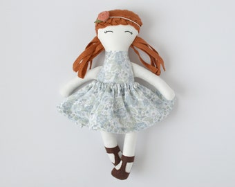 red hair cloth doll, vintage personalized cloth doll, fabric doll, big sister gift, flower girl gift, baby shower gift, nursery decor