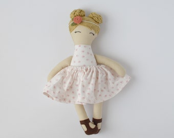blonde hair cloth doll, vintage personalized cloth doll, fabric doll, big sister gift, flower girl gift, baby shower gift, nursery decor