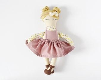 pinafore dress cloth doll, vintage dress doll,  best friend gift, doll for nursery decor, flower girl gift, baby shower gift, minimal doll