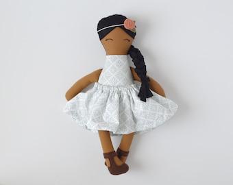 dark skin cloth doll, vintage personalized cloth doll, fabric doll, big sister gift, flower girl gift, baby shower gift, nursery decor