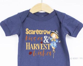 Fall Scarecrow Kisses Harvest Baby Bodysuit