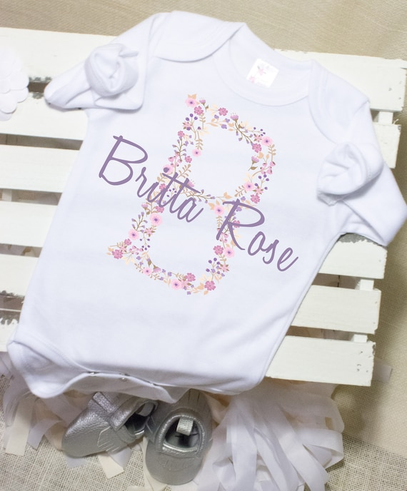 Baby Shower Gift Blue Personalized Pink Floral Initial /& Name Onesie Baby Girl Coming Home Outfit New Baby Gift Personalized Baby Onesie