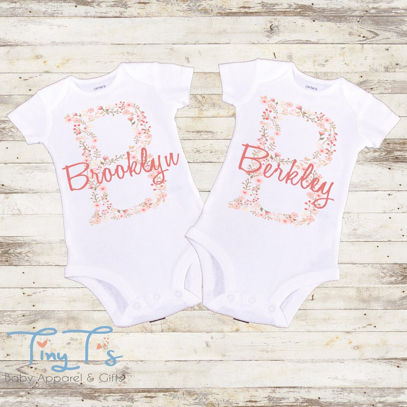 9cd032689 Twin Outfits Twins Custom Baby Onesie® Twins Onesies® | Etsy