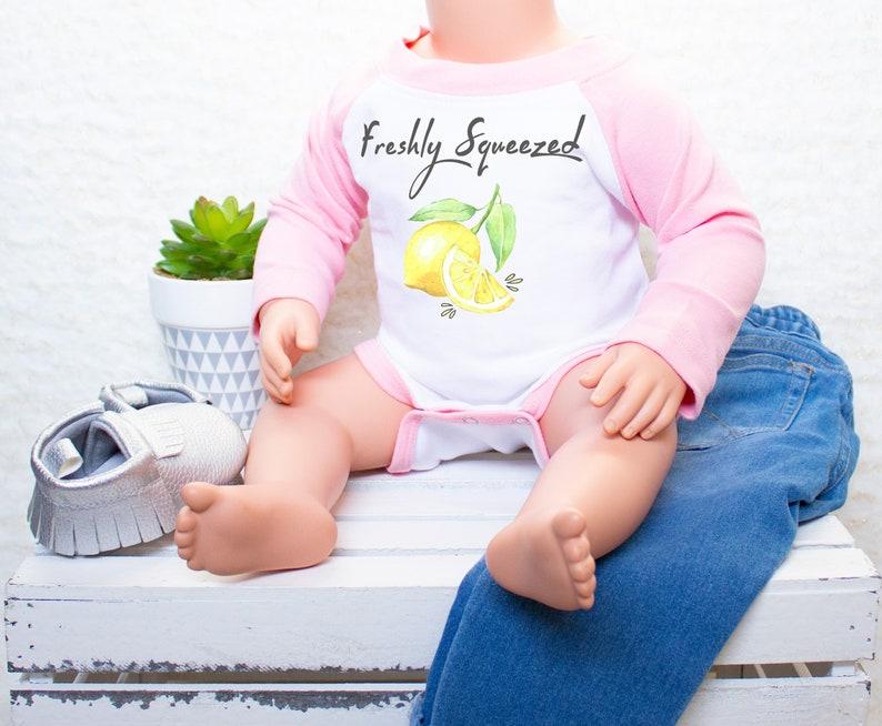 3157acf2dc5 Pink Baby Baseball Tee Onesie®Freshly Squeezed Onesie Lemon | Etsy