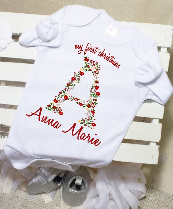 My First Christmas Baby Hooded Grow,Outfit,Bodysuit Your Name Personalised Gift!
