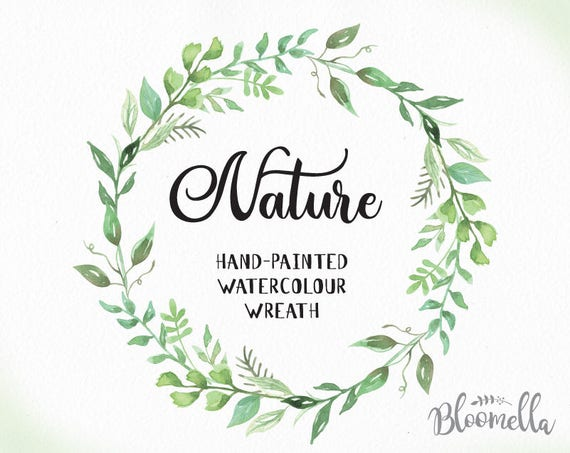 watercolour leaf wreath clipart nature hand painted leaves etsy