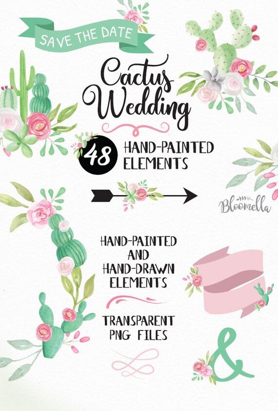Aquarell Hochzeit Kaktus Clipart 48 Von Hand Gemalt Und Etsy