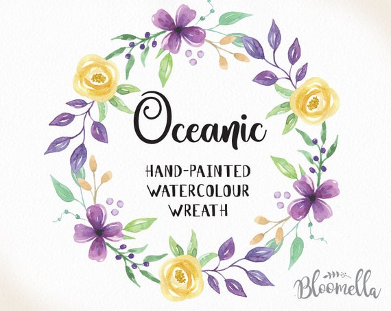Watercolour Oceanic Flower Wreath Clipart Pretty Purple Yellow Painted Leaves Instant Download Png Jpeg Berries Leaves Digital Garland