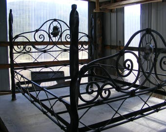 Hand forged iron bed. Queen size.