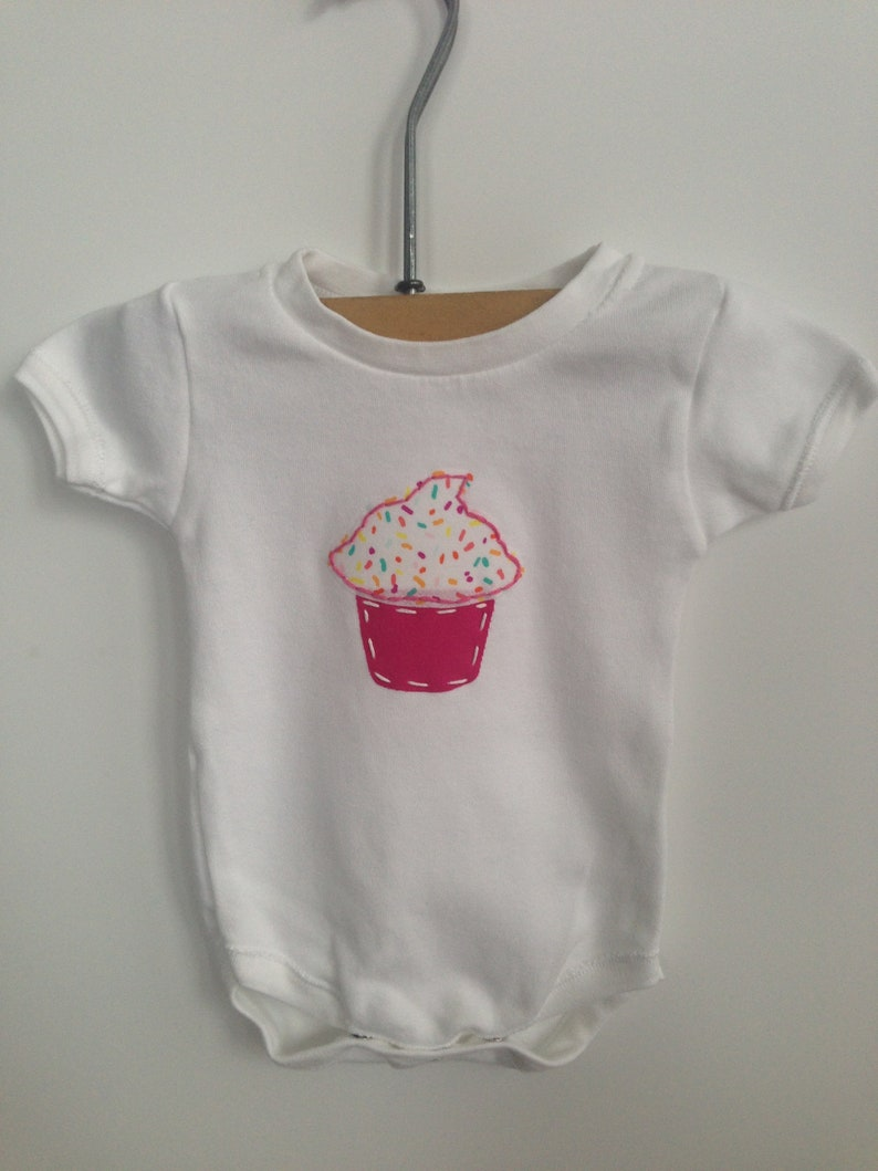 Party Like It/'s Your Birthday cupcake appliqued body suit multiple sizes available