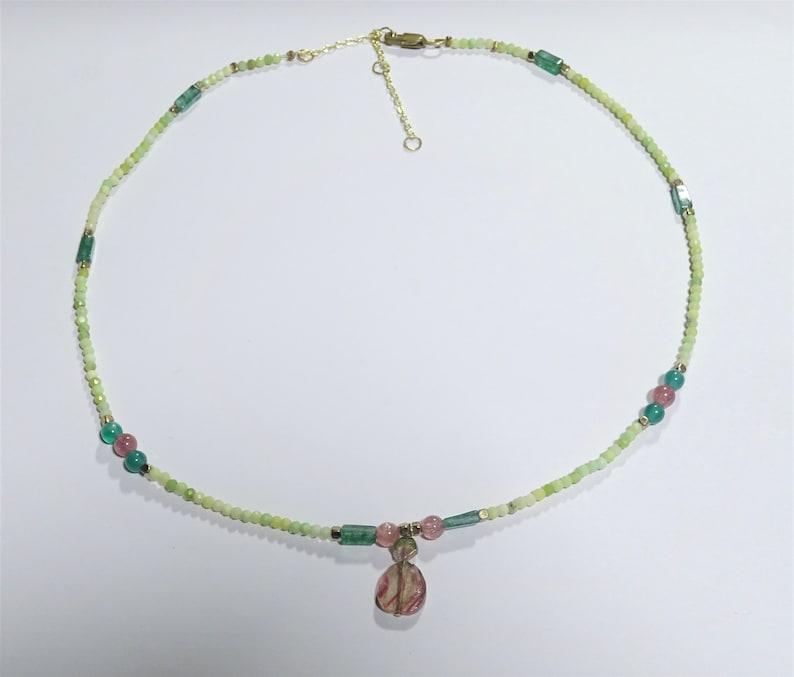 tourmalines and emeralds adjustable length two-tone tourmaline pendant Aventurines necklace