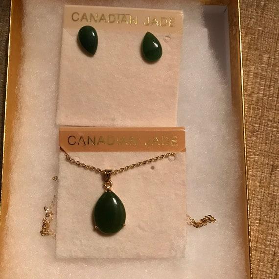 Lisa Kao Canadian Jade Pendant Earring Set