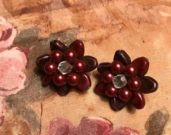 Vintage Maroon Flower Earrings marked JAPAN