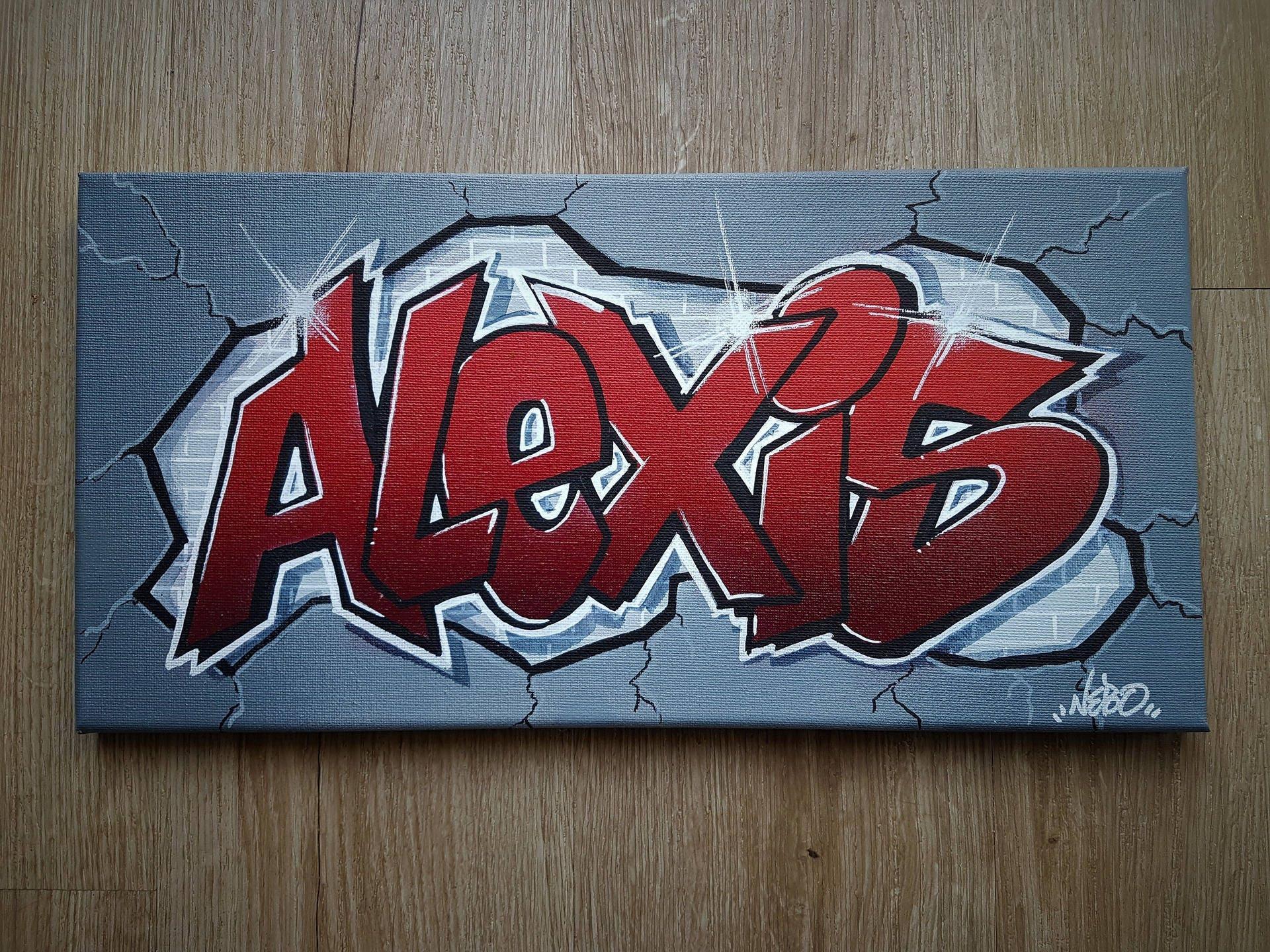 Toile tableau personnalis e peinture graffiti pr nom tableau etsy - Graffiti prenom gratuit ...