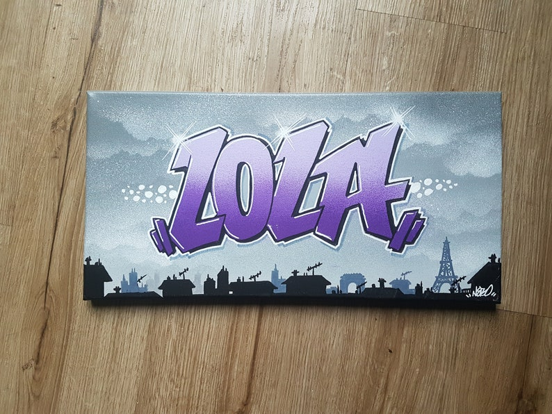 Tableau Graffiti Canvas Custom Tag Street Art Prénom Lola Idée Etsy