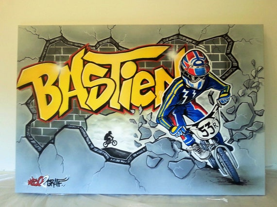Decoracion Graffiti Mural Decoracion Habitacion Bmx Race Etsy - Decoracion-graffiti