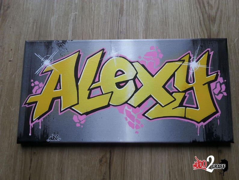 Tag Graffiti Personnalisé Tableau Cadeau Prénom Idée Décoration Toile roeBCdx