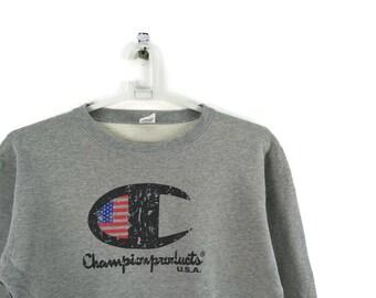 d50ca7881dd Grey Champion Script Vintage Sweatshirt   Vintage Champion   Champion  Sweatshirt   Gucci Champion   Aesthetic Clothing   Champion Vintage