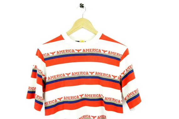 70s 80s Hang Ten Vintage AMERICA Striped T Shirt /