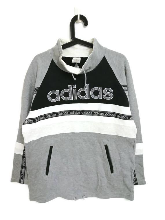 Vintage ADIDAS TREFOIL Run DMC Hip Hop Style Big Logo Spellout Gray Black and White Sweatshirt Jumper 90s Hip Hop Size Large