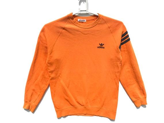newest various styles crazy price Orange Adidas Sweatshirt / Adidas Trefoil / Adidas Sweater / Adidas Vintage  / Adidas Hoodie / 90s Adidas / Vintage Sweatshirt