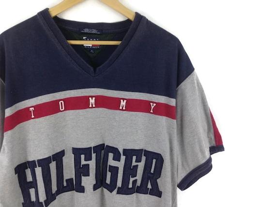 Vintage Tommy Hilfiger Atletiek Hockey Jersey Grootte Groot 90s Tommy Hilfiger Esthetische Kleding