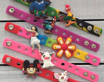 Moana PARTY FAVORS Charm Bracelets Birthday Gift Party Supply Jibbitz