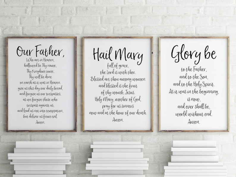 Our Father Hail Mary Amp Glory Be Printable 3 Prayer Pack Etsy