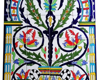 Large tile painting 60x90 hand-painted mosaic tiles Tiles Andalusia Spanish tiles Azulejos Ceramic tiles Walltiles