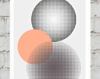 Geometric, Circle Texture Print Digital Download A3