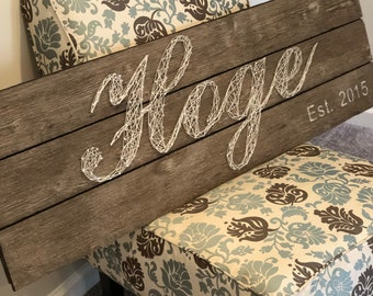 Personalized String Art Wood Sign