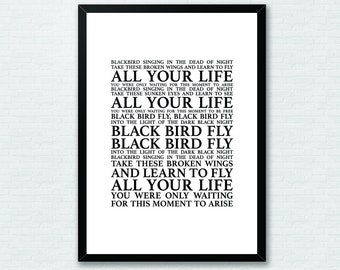 Blackbird lyrics etsy more colors blackbird the beatles lyrics song stopboris Images