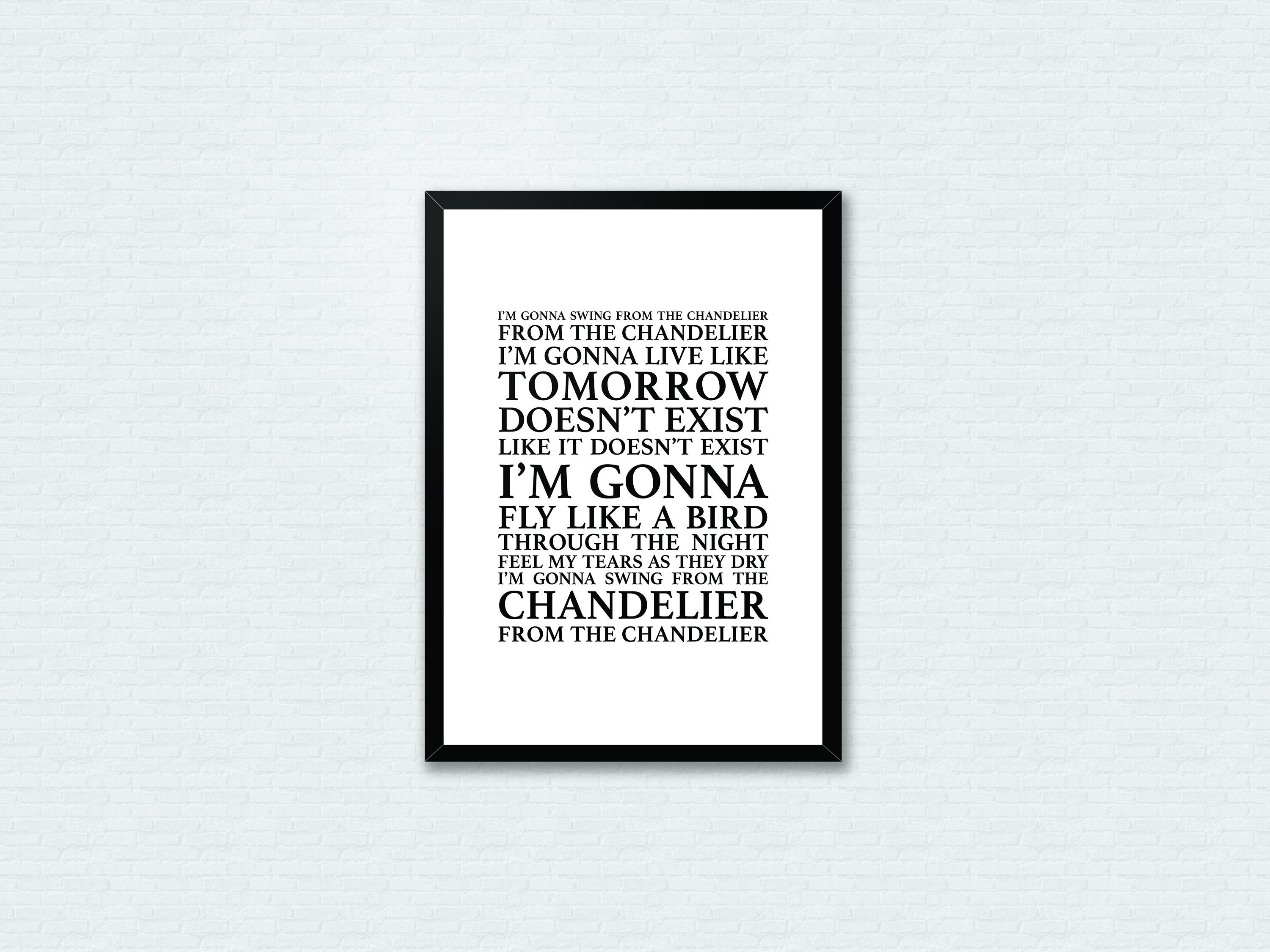 Chandelier sia lyrics song lyrics typography print home art zoom aloadofball Images