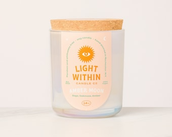 Amber Moon Candle 14 oz | Scented Soy Candle, Iridescent, Double Wick, Twin Flame, Valentine's Day