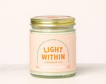 Candied Pumpkin Candle 8 oz | Scented Soy Candle, Pumpkin Spice, Vegan, Pumpkin Pie, Fall, Halloween, Thanksgiving