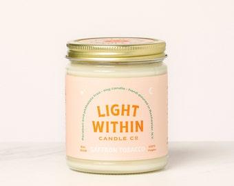 Saffron Tobacco Candle 8 oz | Scented Soy Candle, Vanilla Scent, Vegan