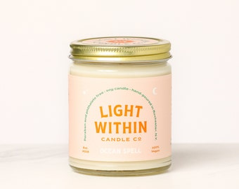 Ocean Spell Candle 8 oz | Scented Soy Candle, Fresh Scent, Salt, Melon, Lotus, Vegan