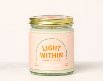 Nag Champa Candle 8 oz | Scented Soy Candle, Vegan Gift, Cleansing Candle, Incense