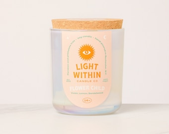Flower Child Candle 14 oz | Scented Soy Candle, Iridescent, Cork Top, Floral, Gift