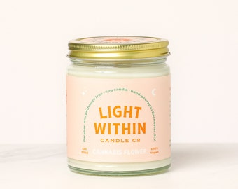 Cannabis Flower Candle 8 oz | Scented Soy Candle, Hemp, Stoner, 420, Hippie, Vegan Gift, Weed, Cannabis, CBD
