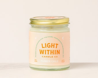 Flower Child Candle 8 oz | Scented Soy Candle, Vegan Gift, Floral Scent, Housewarming