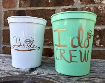 I Do Crew Cups   Bachelorette Party Cups 16 0z   Bridal Party Stadium Cups   MINT  I Do Crew Cup ON SALE!!!