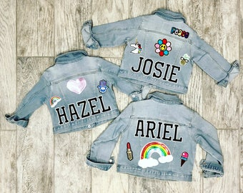 Girls denim jacket with custom patches