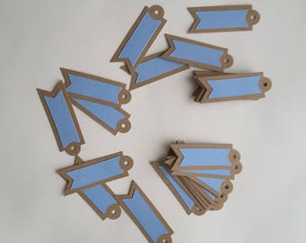 Labels for favors or small gifts, pack of 20 blue cards on a Kraft paper basis, to write name or event date