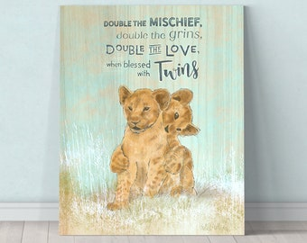 4fe2f92ffed7d Twins - twin nursery decor - twins baby shower- Lion Cub - Jungle Nursery -  inspirational baby gift - safari nursery - animal print - safari