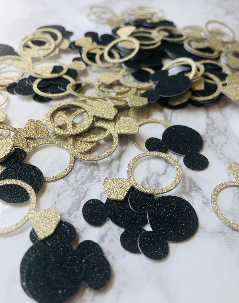 bridal shower party decor wedding Mickey Mouse and Gold Engagement Ring table confetti party supplies party decorations Disney