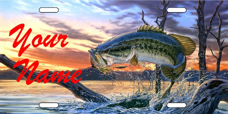 Bass Fishing Personalized Novelty License Plate Custom Vanity Car Tag Add  Your Name