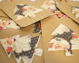 Santa Christmas Tree Gift Tags