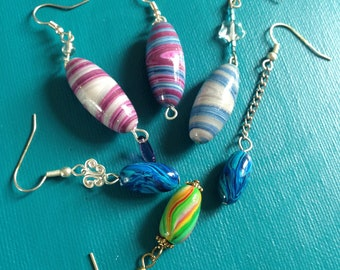 olive polymer clay earring
