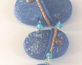 jeans fimo polymer necklace